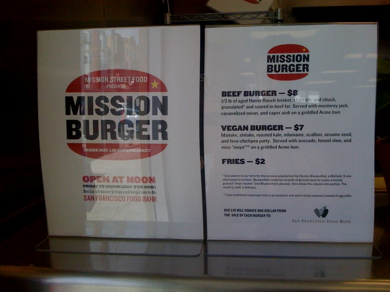 Mission Burger Menu