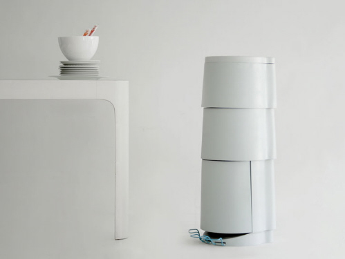modern trash cans for recycling and dividing trash