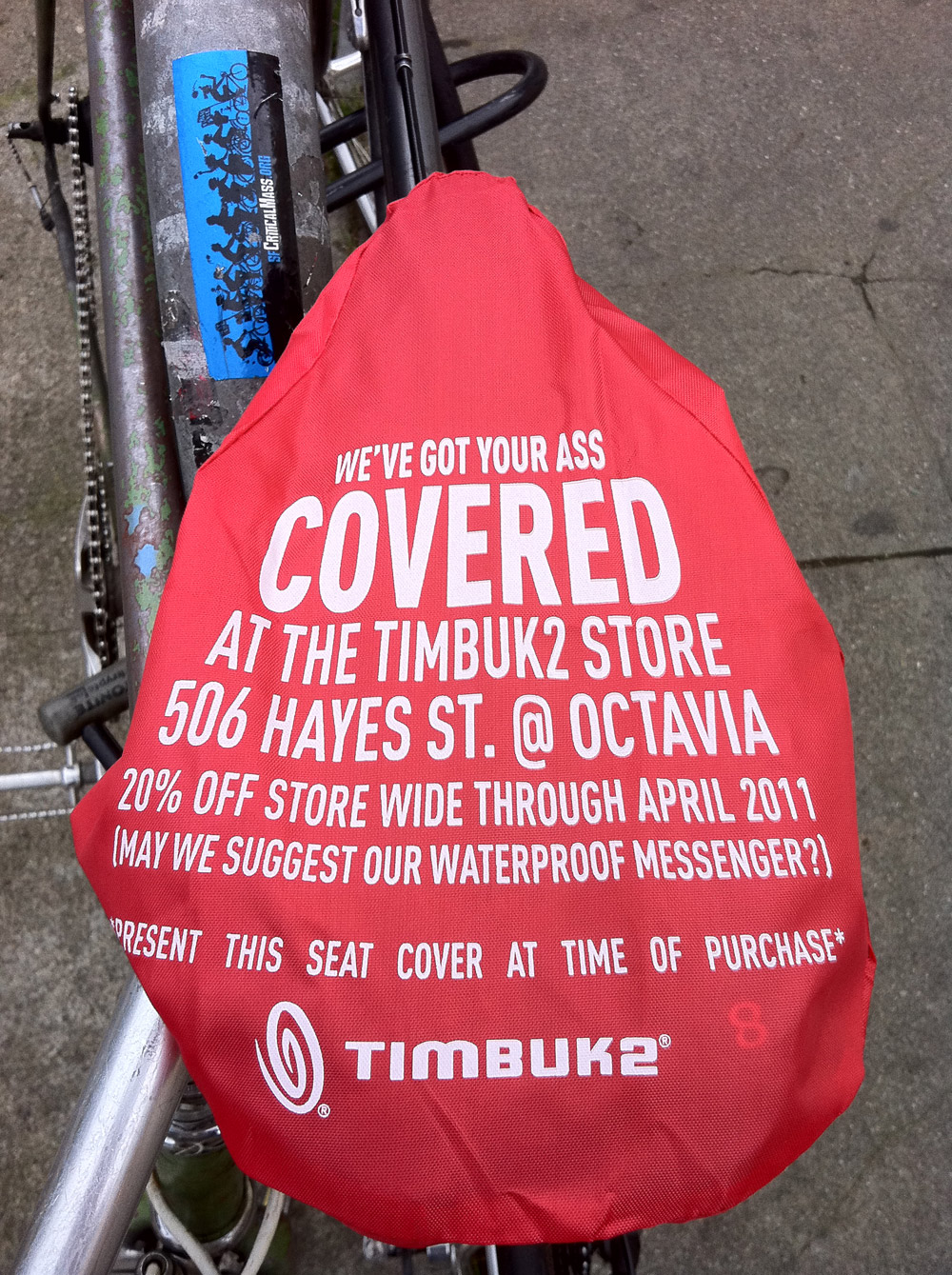 timbuk2, freebies, giveaway, mission district, seat cover, viral marketing, free seat cover, san francisco, bike seat, rain cover
