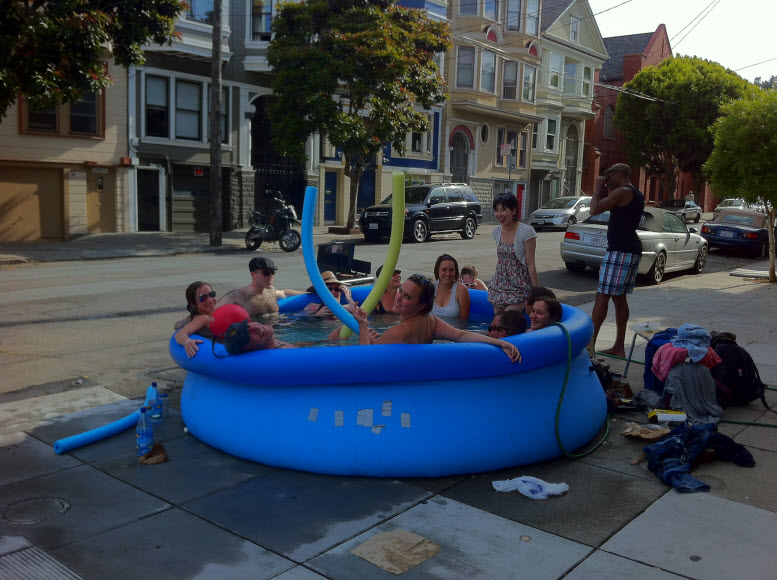 Swimming pool finally returns to 19th and linda mission Blow up alligator for swimming pool