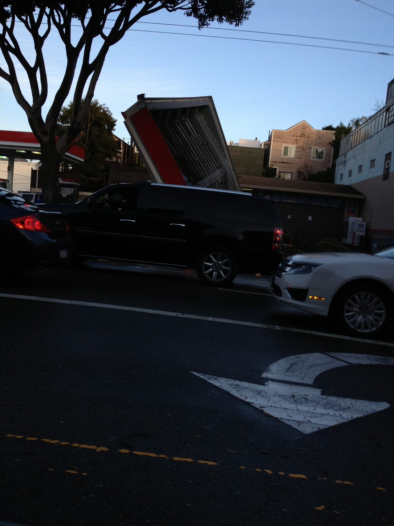 Roof Over Gas Pumps Tipped Clean Over 171 Mission Mission