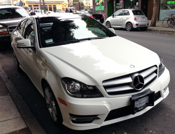mercedes benz, bump shox, parking armor, mission district, san francisco, car diaper