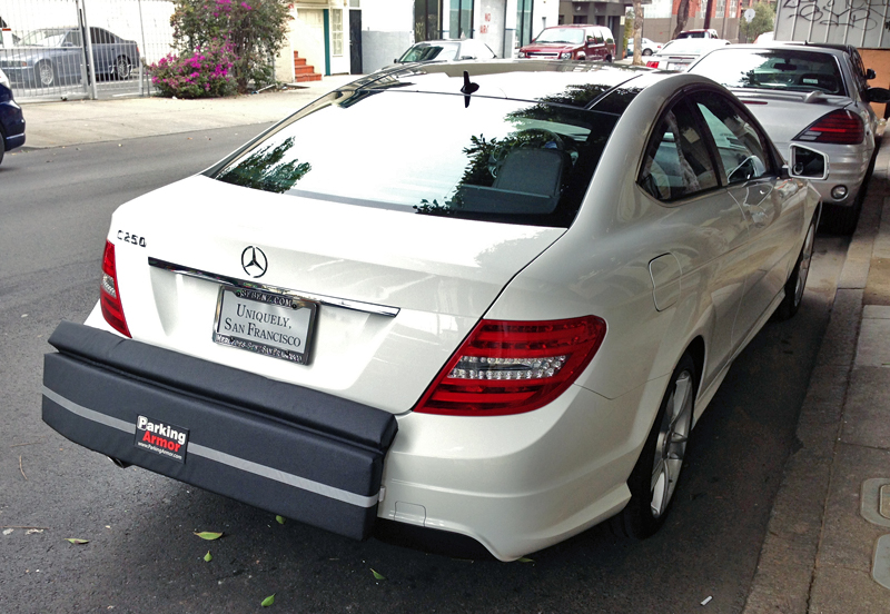 Brand new benz dons battle armor to park in the mission for Mercedes benz parking