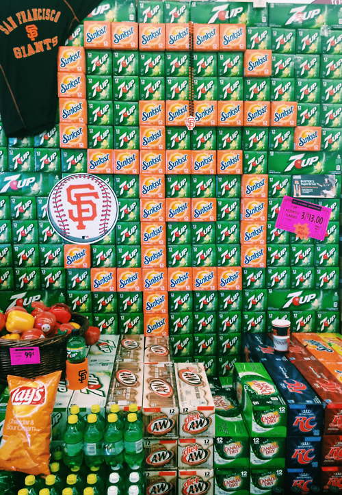 Pixel Art Giants Logo Made Of 7 Up And Sunkist Orange Soda 12 Packs 171 Mission Mission