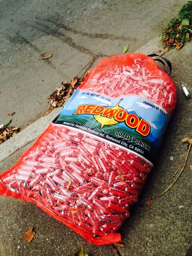 gigantic bag of whippits discarded on san carlos street mission