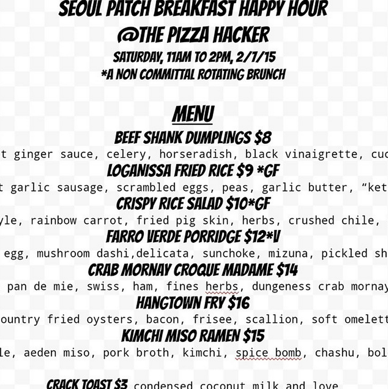 Check Out The Menu For The Seoul Patch Breakfast Happy Hour This Saturday At Pizza Hacker Mission Mission