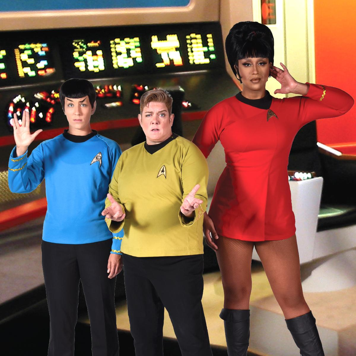 Amber Sommerfeld as Spock, Leigh Crow as Captain Kirk, and Honey Mahogany as Uhura