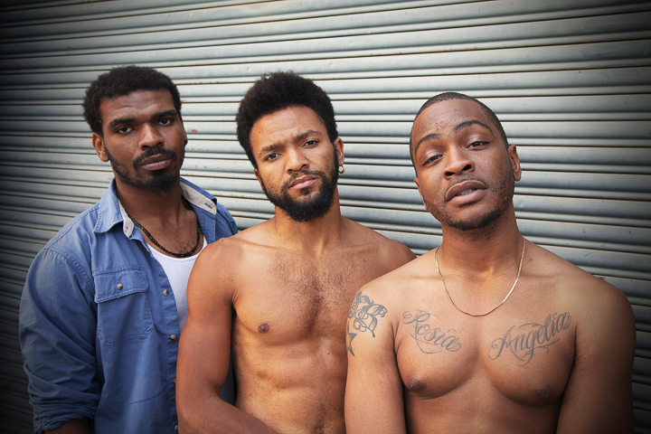 Pictured left to right: Lakeidrick S. Wimberly as Ogun, Gabriel Christian as Oshoosi, and Julian Green as Elegba. Photo by Steven Ho.