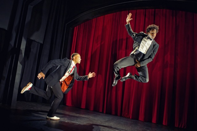 William Hartfield and Nican Robinson open Crowded Fire's THE SHIPMENT with gravity-defying choreography. Photo by Pak Han