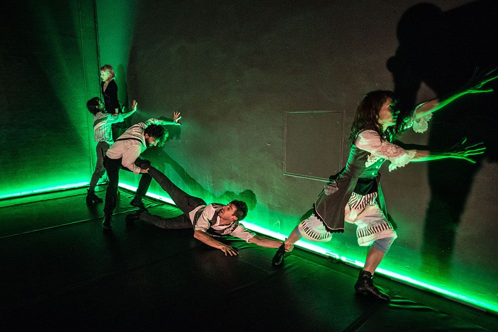 """From left, Colin Epstein, Julie Mahony, David Silpa, Zach Fischer and Jenny McAllister appear in """"Next Time, I'll Take the Stairs."""" (Courtesy Robbie Sweeny)"""